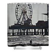 Surfer And Lovers At Pleasure Pier Shower Curtain
