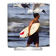Surfer And The Birds Shower Curtain