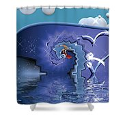 Surfer Boy - Ride The Waves Shower Curtain