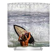 Surfer Catch The Wave Shower Curtain