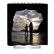Surfer Inside A Cave At Muriwai New Shower Curtain