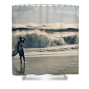 Surfer Watch Shower Curtain by Laura Fasulo