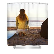 Surfer Woman And Dog On Beach Shower Curtain