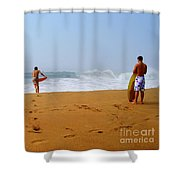 Surfers At Newport Beach Shower Curtain