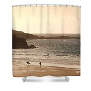 Surfers On Beach 03 Shower Curtain