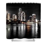 Surfers Paradise Night Reflections Shower Curtain