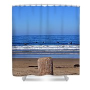 Surfers Waiting.... Shower Curtain