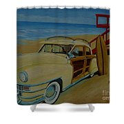 Surfers Woody Shower Curtain