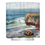 Surfing At Steamers Lane Santa Cruz Shower Curtain