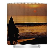 Surfing At Sunset Shower Curtain by Anonymous
