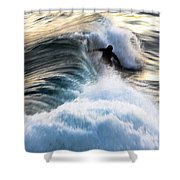 Surfing For Gold Shower Curtain