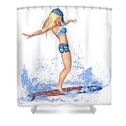 Surfing Girl Shower Curtain