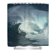 Surfing Jaws Fast And Furious Shower Curtain