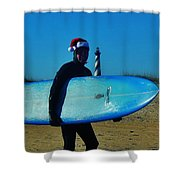 Surfing Santa Cape Hatteras Lighthouse 3 12/19 Shower Curtain