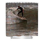 Surfing The Bricks Shower Curtain