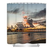 Surfs Up On A Sunset Shower Curtain