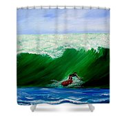 Surf's Up Surfing Wave Ocean Shower Curtain