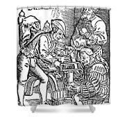 Surgeon Performing An Amputation. Woodcut From An Edition Of Hans Von Gersdoffs Feldtbuch Der Wundartzney, Strassburg, 1540 Shower Curtain