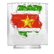 Suriname Painted Flag Map Shower Curtain