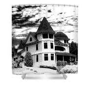 Surreal Black White Mackinac Island Michigan Infrared Victorian Home Shower Curtain