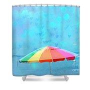 Surreal Blue Summer Beach Ocean Coastal Art - Beach Umbrella  Shower Curtain by Kathy Fornal