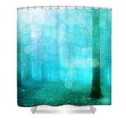 Surreal Dreamy Fantasy Bokeh Aqua Teal Turquoise Woodlands Trees  Shower Curtain
