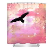 Surreal Dreamy Fantasy Ravens Pink Sky Scene Shower Curtain by Kathy Fornal