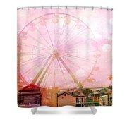 Surreal Dreamy Pink Myrtle Beach Ferris Wheel Shower Curtain