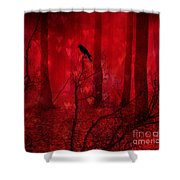 Surreal Fantasy Gothic Red Woodlands Raven Trees Shower Curtain