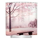 Surreal Infrared Dreamy Pink And White Park Bench Tree Nature Landscape Shower Curtain