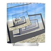 Surreal Monitors Infinite Loop Shower Curtain