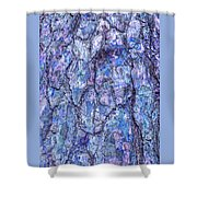 Surreal Patterned Bark In Blue Shower Curtain