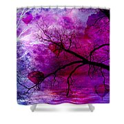 Surreal Abstract Fantasy Purple Pink Trees Hot Air Balloons Shower Curtain