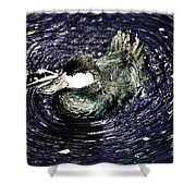 Surrounded By Purple Water Rings Shower Curtain