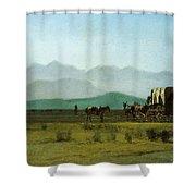 Surveyors Wagon In The Rockies Shower Curtain