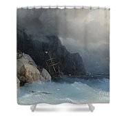 Survivors Of A Shipwreck On A Rocky Path  Shower Curtain