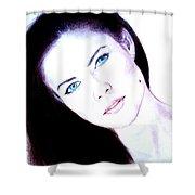 Susan Ward Blue Eyed Beauty With A Mole II Shower Curtain
