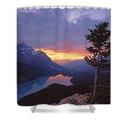 1m3607-sunset Over Peyto Lake Shower Curtain
