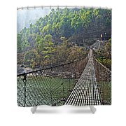 Suspension Bridge Over The Seti River In Nepal Shower Curtain