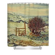 Sussex Stile, Winter, 1996 Shower Curtain