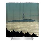 San Francisco's Sutro Tower Across The Sea Of Fog Shower Curtain
