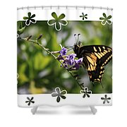 Swallowtail 4 With Flower Framing Shower Curtain