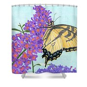 Swallowtail Butterfly And Butterfly Bush Shower Curtain