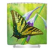 Swallowtail Visits Hosta Flowers Shower Curtain