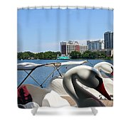 Swan Boats And Buildings Shower Curtain