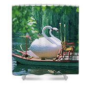 Swan Boats In A Lake, Boston Common Shower Curtain