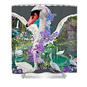 Swan Day Dream Shower Curtain by Alixandra Mullins