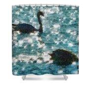 Swan Lake Shower Curtain by Ayse Deniz