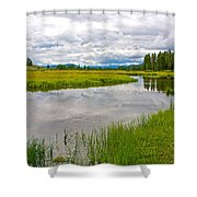 Swan Lake In Grand Teton National Park-wyoming  Shower Curtain
