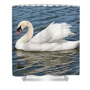 Swan On Blue Waves Shower Curtain